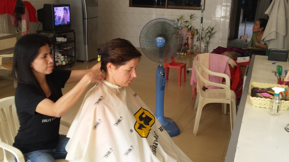 Getting a haircut in Cambodia