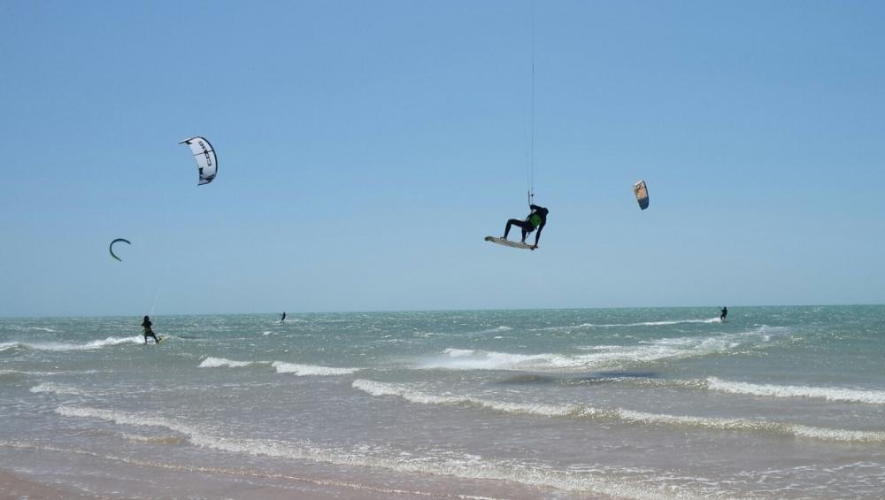 Kitesurfing at white spot dune, Morocco